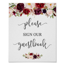 Rustic Burgundy Red Floral Guestbook Wedding Sign