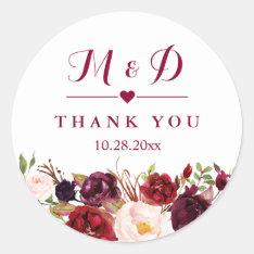 Rustic Burgundy Red  Floral Monogram Wedding Favor Classic Round Sticker at Zazzle
