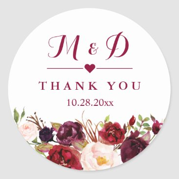 CardHunter Rustic Burgundy Red  Floral Monogram Wedding Favor Classic Round Sticker