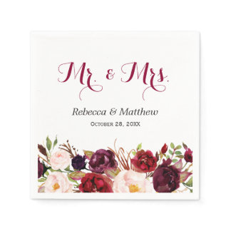 Rustic Burgundy Red Floral Mr and Mrs Wedding Napkin