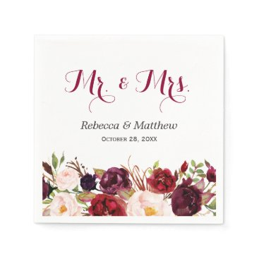 CardHunter Rustic Burgundy Red Floral Mr and Mrs Wedding Napkin