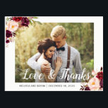 """Rustic Burgundy Red Floral Wedding Photo Thank You Postcard<br><div class=""""desc"""">Rustic Burgundy Red Floral Wedding Photo Thank You Postcard.  (1) For further customization,  please click the &quot;customize further&quot; link and use our design tool to modify this template.  (2) If you need help or matching items,  please contact me.</div>"""