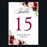 "Rustic Burgundy Red Floral Wedding Table Number<br><div class=""desc"">Rustic Burgundy Red Floral Wedding Table Number Card (1) Please customize this template one by one (e.g, from number 1 to xx) , and add each number card separately to your cart. (2) For further customization, please click the &quot;customize further&quot; link and use our design tool to modify this template....</div>"