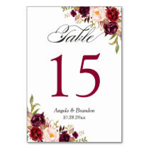 Rustic Burgundy Red Floral Wedding Table Number