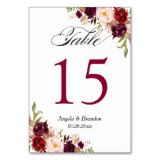 Rustic Burgundy Red Floral Wedding Table Number at Zazzle
