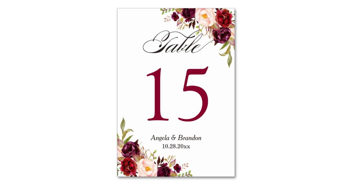 rustic burgundy red floral wedding table number