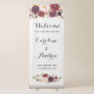 Rustic Burgundy Red Floral Wedding Welcome Retractable Banner