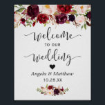 "Rustic Burgundy Red Floral Welcome Wedding Sign<br><div class=""desc"">Rustic Burgundy Red Floral Welcome Wedding Sign Poster. (1) The default size is 8 x 10 inches, you can change it to a larger size. (2) For further customization, please click the &quot;customize further&quot; link and use our design tool to modify this template. (3) If you need help or matching...</div>"