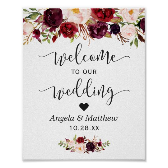 Rustic Burgundy Red Fl Welcome Wedding Sign