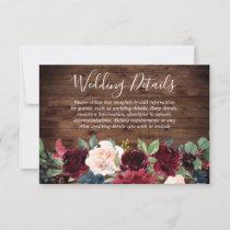 Rustic Burgundy Red Wine Floral Wedding reception RSVP Card