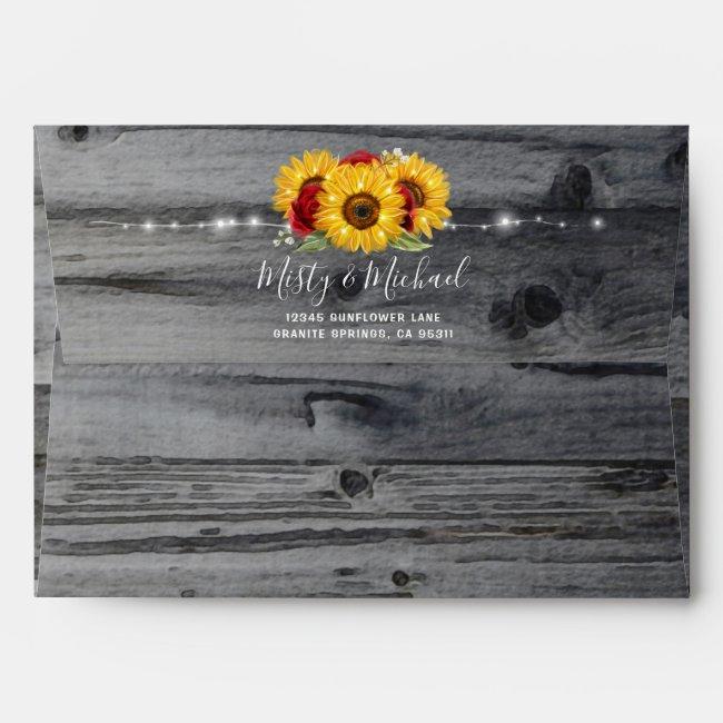 Rustic Burgundy Rose Wood Sunflower Return Address Envelope