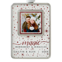 Rustic Burgundy Stars & Falling Snow Dated Photo Christmas Ornament