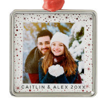 Rustic Burgundy Stars & Falling Snow Dated Photo Metal Ornament