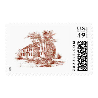 Rustic Burgundy Vintage Cottage Stamp