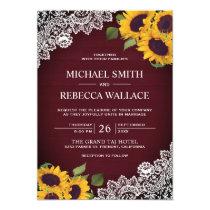 Rustic Burgundy Wood Lace Sunflower Wedding Invitation