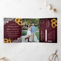 Rustic Burgundy Wood Lace Sunflower Wedding Photo Tri-Fold Invitation