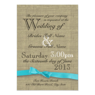 Rustic Burlap and Bow Country Wedding 5x7 Paper Invitation Card