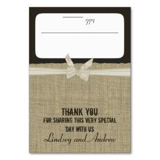 Rustic Burlap and Bow Seating Card Table Cards