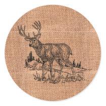 Rustic Burlap And Deer Illustration Classic Round Sticker