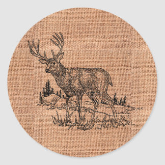 Rustic Burlap And Deer Illustration Classic Round Sticker