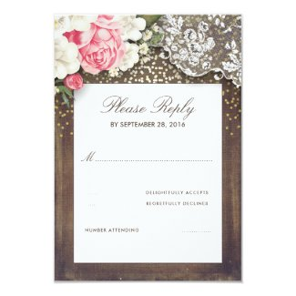 Rustic Burlap and Floral Lace Wedding RSVP Card