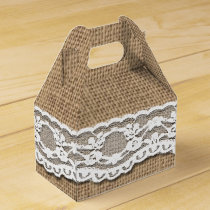 Rustic Burlap and Lace Art Gable Favor Box