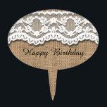 "Rustic Burlap and Lace Cake Topper<br><div class=""desc"">Rustic burlap and pretty lace art design</div>"
