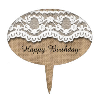 Rustic Burlap and Lace Cake Topper
