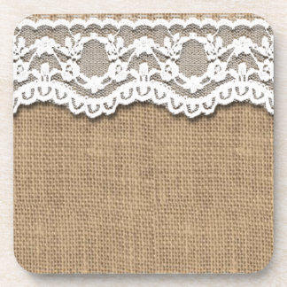 Rustic Burlap and Lace Coasters