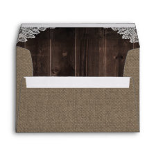 Rustic Burlap and Lace Country Barn Wood Wedding Envelope