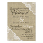Rustic Burlap and Lace Country Wedding Custom Invitation