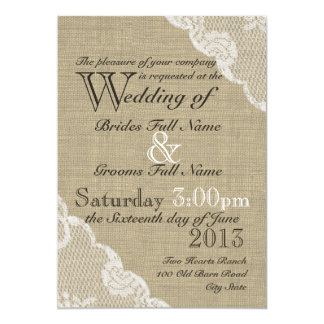 Rustic Burlap and Lace Country Wedding 5x7 Paper Invitation Card