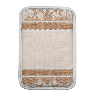 Rustic Burlap and Lace Image Sleeve For iPad Mini