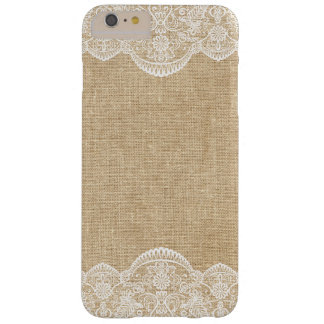 Rustic Burlap and Lace Pattern Bride Barely There iPhone 6 Plus Case