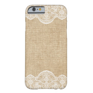 Rustic Burlap and Lace Pattern Bride iPhone 6 case