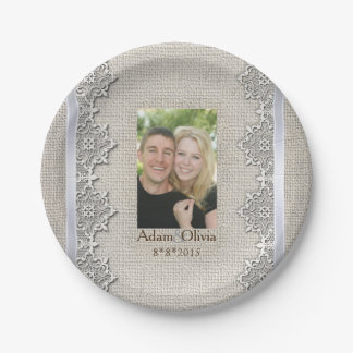 Rustic Burlap And Lace Photo Wedding 7 Inch Paper Plate
