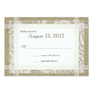 Rustic Burlap and Lace Reply 3.5x5 Paper Invitation Card