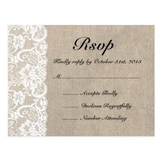 Rustic Burlap and Lace RSVP Postcard