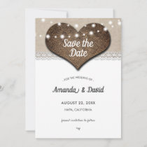 Rustic Burlap and Lace Save The Date Cards