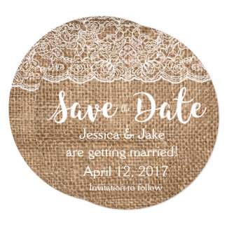 Rustic Burlap and Lace Save the Date Circle Invite