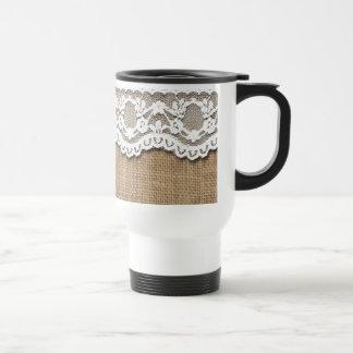 Rustic Burlap and Lace Travel Mug