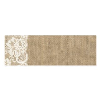 Rustic Burlap and Lace Wedding Place Card Mini Business Card