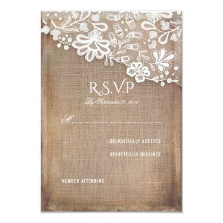 Rustic Burlap and Lace Wedding RSVP Card