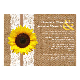 Rustic Burlap and Lace with Sunflower Wedding Personalized Announcements