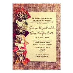 Rustic Burlap And Leaves Fall Wedding Invitations