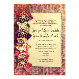 Beau Rustic Burlap And Leaves Fall Wedding Invitations