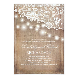 rustic burlap and lights lace wedding anniversary card
