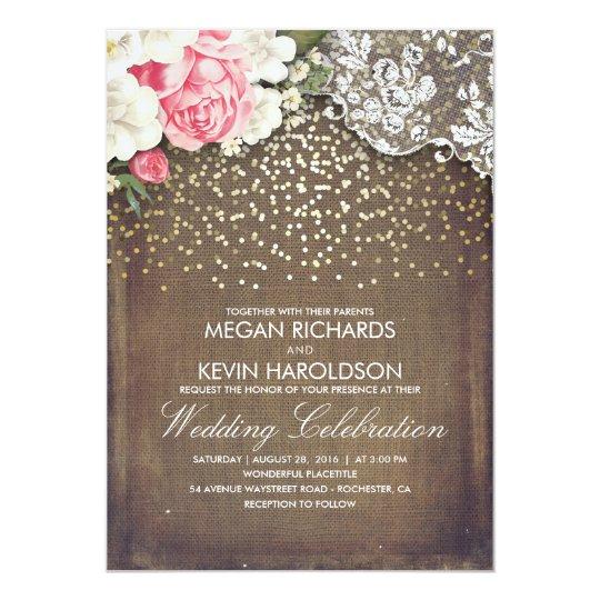 Rustic Burlap And Pink Flowers Wedding Invitation