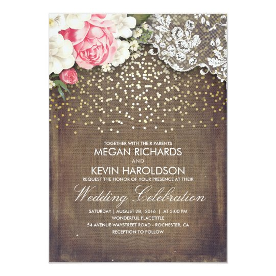 Rustic Burlap And Pink Flowers Lace Gold Wedding Invitation Zazzle Com