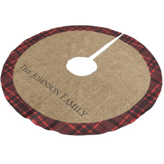 Rustic Burlap and Red Plaid Brushed Polyester Tree Skirt